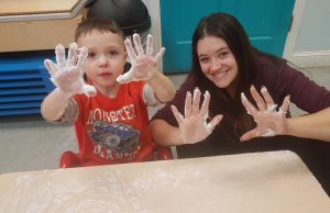 nikki and student with shaving cream